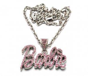 Nicki Minaj Barbie Small Necklace Pendant - Silver Pink MZ34R-PK