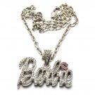 Nicki Minaj Barbie Small Necklace Pendant - Silver Pink MZ34R-1