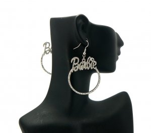 Nicki Minaj Barbie Round Hook Earrings - Silver Clear GE1R
