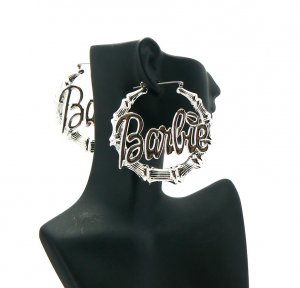 Nicki Minaj Barbie Round Pincatch Earrings - Silver ME1024R