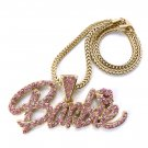 Nicki Minaj Barbie Necklace Pendant - Gold Pink MP655G-PK