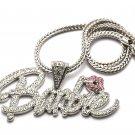 Nicki Minaj Barbie Necklace Pendant - Silver Clear Pink MP655R