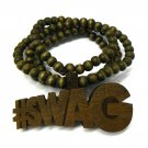 Brown Wood SWAG Necklace Pendant Rosary Chain WJ84BN