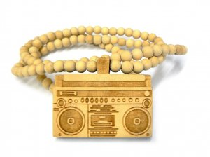 Natural Wood Boombox Radio Necklace Pendant WJ80NL