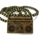 Brown Wood Boombox Radio Necklace Pendant WJ80BN
