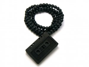 Black Wood Cassette Music Necklace Pendant WJ115BK