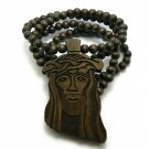 Brown Wood Jesus Necklace Pendant Hip Hop Chain WJ1BN