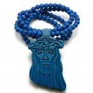 Blue Wood Jesus Necklace Pendant Hip Hop Chain WJ1BL