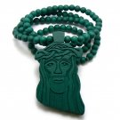 Green Wood Jesus Necklace Pendant Hip Hop Chain WJ1GN