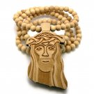 Natural Wood Jesus Necklace Pendant Hip Hop Chain WJ1NL