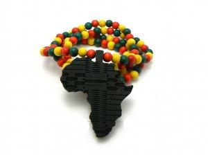 Black Yellow Wood Africa Map Necklace Pendant Piece Chain WJ2BK-B