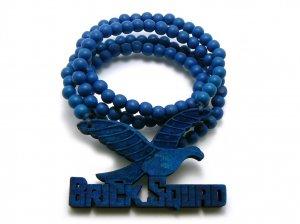 Blue Wood Brick Squad Necklace Pendant Soulja Boy WJ15BL