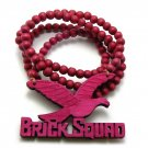 Pink Wood Brick Squad Necklace Pendant Soulja Boy WJ15PK