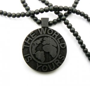 Black Wood World Is Yours Scarface Necklace Pendant WJ18BK