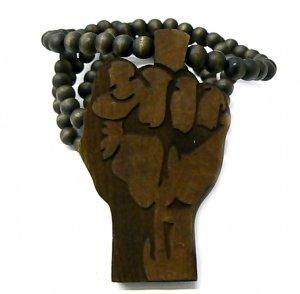 Brown Wood Flat Power Fist Necklace Pendant Piece WJ29BN