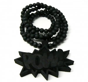 Black Wood POW! Necklace Pendant Hip Hop Piece WJ33BK