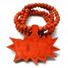 Red Wood POW! Necklace Pendant Hip Hop Piece WJ33RD