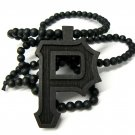 Black Wood Wiz Khalifa P Necklace Pendant Piece WJ82BK