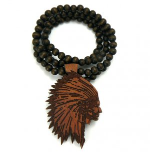 Brown Wood Indian Chief Necklace Pendant WX15BN