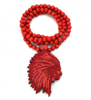 Red Wood Indian Chief Necklace Pendant WX15RD