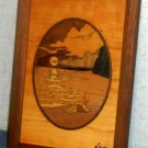 Marquetry Seascape Plaque and Pillbox USA Philippines