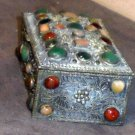 Metal handcraft box with 45 cut stones India