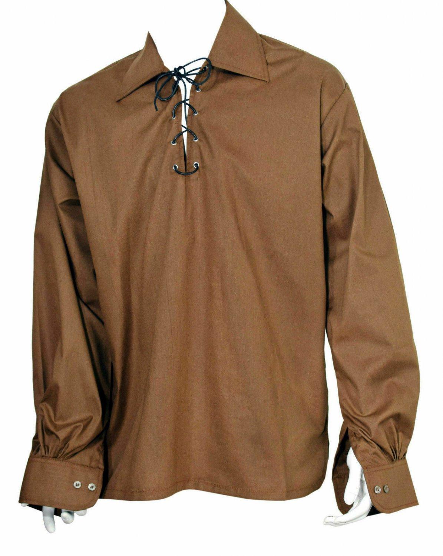 5XL Size Brown Color Cotton Traditional Scottish Style Jacobean Jacobite Ghillie Kilt Shirt