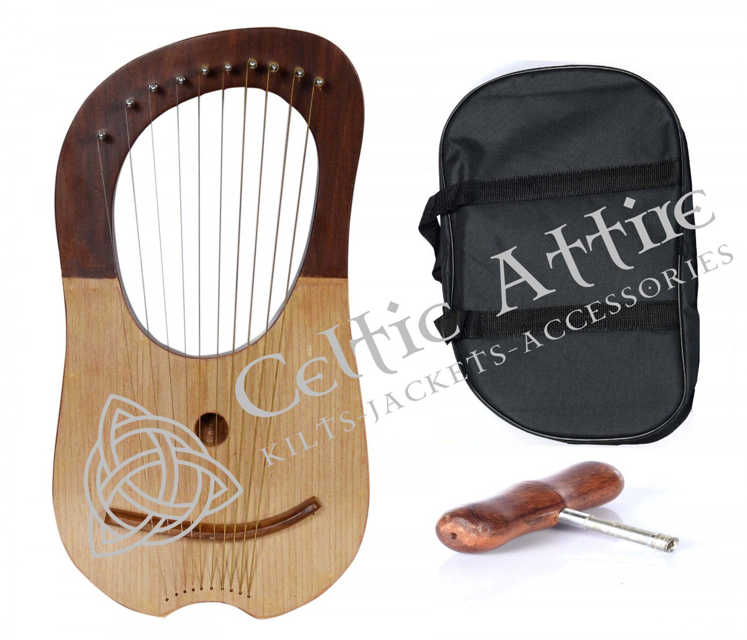 LYRE HARP 10 Metal Strings Rosewood Hand Engraved With Black Bag and Key