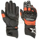 ALPINESTARS Motorcycle Gloves Genuine Leather Motorbike Protective Gear BLACK FLUOROT Size S