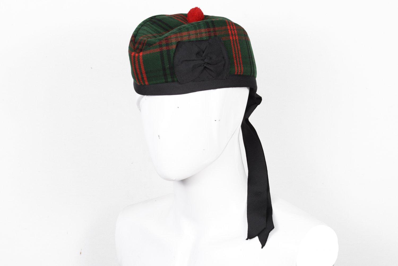 Scottish GLENGARRY Cap Traditional Military Piper Hat KILT Cap Clan Rose Hunting Size 62 cm