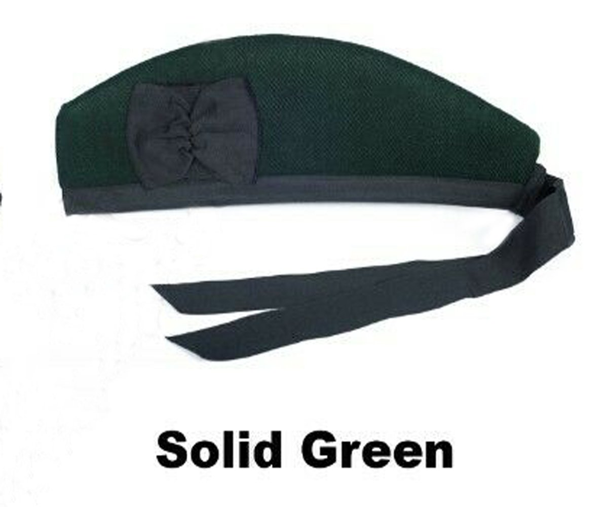 Scottish GLENGARRY Cap Traditional Military Piper Hat KILT Cap Clan Solid Green Size 54 cm