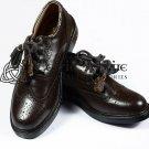 Scottish Kilt Ghillie Brogue Brown Shoes 100%Genuine Leather Shoes Size 8