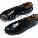 Scottish Kilt Ghillie Brogue BLACK Shoes 100%Genuine Leather Shoes Size 10