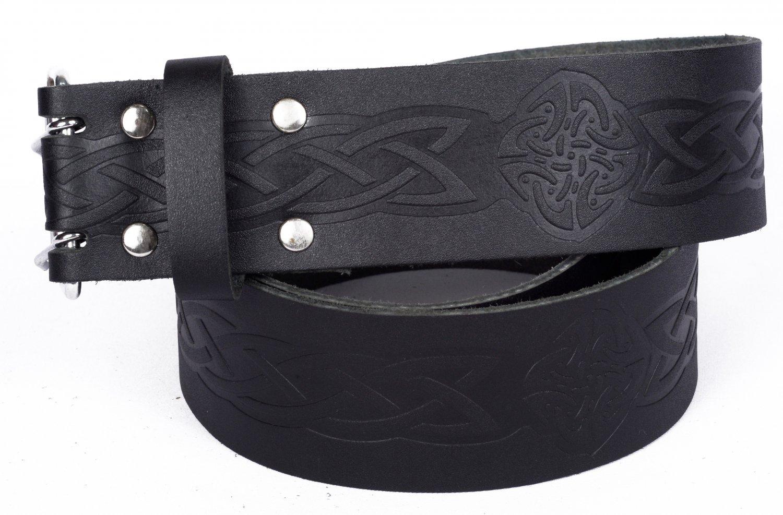 Leather Black KILT BELT Medieval Knot Design Celtic Embossed Belt Double Prong Belt Size 42