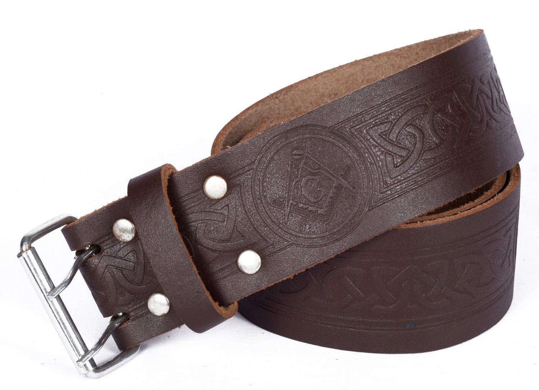 Leather Brown KILT BELT Masonic Design Celtic Embossed Belt Double Prong Belt Size 38