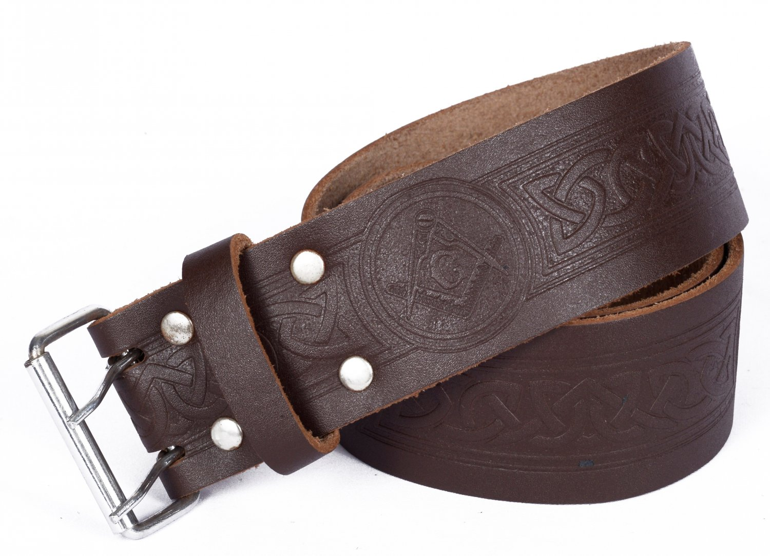 Leather Brown KILT BELT Masonic Design Celtic Embossed Belt Double Prong Belt Size 40