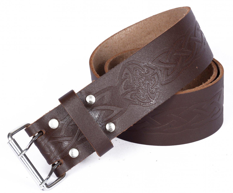 Leather Brown KILT BELT Medieval Knot Design Celtic Embossed Belt Double Prong Belt Size 44