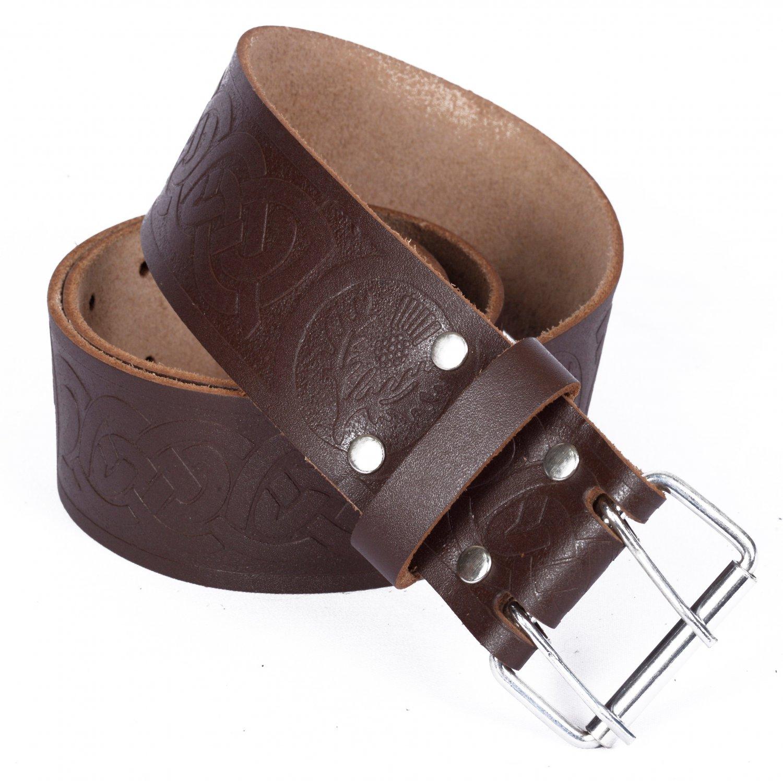 Leather Brown KILT BELT Thistle Design Celtic Embossed Belt Double Prong Belt Size 48