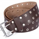 Leather Brown KILT BELT Silver Ring Holes - Utility Belt - Duty Belt - 2 Inches Width Size 32