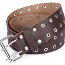 Leather Brown KILT BELT Silver Ring Holes - Utility Belt - Duty Belt - 2 Inches Width Size 46