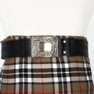 Traditional Scottish Leather Black Kilt Belt - Celtic Knot Embossing - Free Buckle Size 40