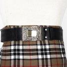 Traditional Scottish Leather Black Kilt Belt - Celtic Knot Embossing - Free Buckle Size 48