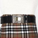 Traditional Scottish Leather Black Kilt Belt - Celtic Knot Embossing - Free Buckle Size 54