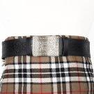 Traditional Scottish Leather Black Kilt Belt -Endless Celtic Knot Embossing - Free Buckle Size 34