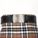 Traditional Scottish Leather Black Kilt Belt -Endless Celtic Knot Embossing - Free Buckle Size 44