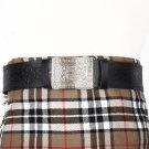Traditional Scottish Leather Black Kilt Belt -Endless Celtic Knot Embossing - Free Buckle Size 46