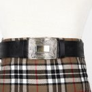 Traditional Scottish Leather Black Kilt Belt -Masonic Celtic Embossing - Free Buckle Size 48