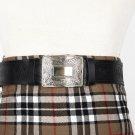 Traditional Scottish Leather Black Kilt Belt -Masonic Celtic Embossing - Free Buckle Size 54