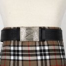 Traditional Scottish Leather Black Kilt Belt -Medieval Knot Celtic Embossing - Free Buckle Size 44