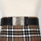 Traditional Scottish Leather Black Kilt Belt -Medieval Knot Celtic Embossing - Free Buckle Size 52
